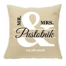 Vzglavnik - MRS.&MR. s priimkom in datumom poroke
