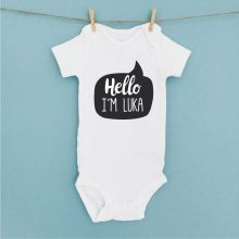 Otroški bodi - Hello I am - DARILO OB ROJSTVU OTROKA