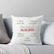 Vzglavnik - Datum poročnega dne in rojstni podatki družine