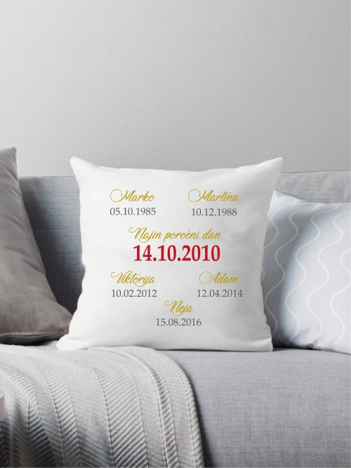 vzglavnik, datum rojstva, datum, poroke, sin, hčer, žena, oče, ati,mami, unikatno, darilo, obletnica