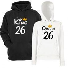 Komplet puloverjev za par - KING/QUEEN s kronico