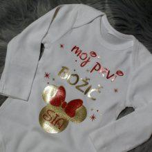 Otroški bodi - Moj prvi božič - Minnie Mouse - Zlato - rdeča