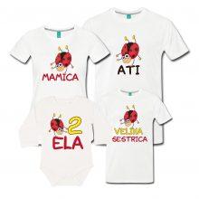 Družinski komplet - Pikapolonica - otroški bodi in majice za starše