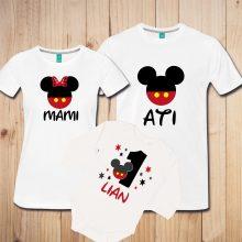 Družinski komplet - Miki miška rdečo črna kombinacija